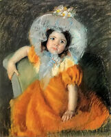 Oil painting Mary Stevenson Cassatt - child in orange dress nice little girl art