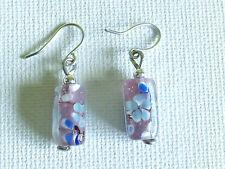 Small glass rectangle earrings
