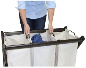 Home Indoor Room Clothes Storage Steel Triple Laundry Sorter Bin Bag Hamper