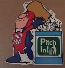 """Bud Man Budweiser Pitch In 1970's Promo Sticker Decal 7 x 6 1/2"""" NM Condition"""