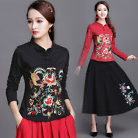 Chinese Embroidery Womens Cotton Long Sleeve Slim T-shirt Folk Floral Top Blouse