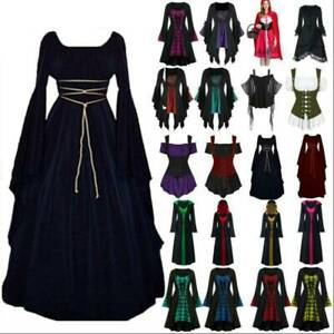 Women Halloween Cosplay Costume Gothic Medieval Witch Vampire Hooded Fancy Dress