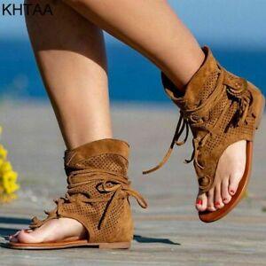 Women's Retro Sandals Gladiator Ladies Clip Toe Vintage Boots Casual Tassel Rome