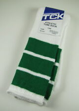 TCK Old School Retro 3 Stripe Athletic Tube Socks Green White Medium Men's 6-9