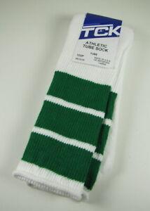 TCK Old School Retro 3 Stripe Athletic Tube Socks Green White Medium Men's 6-9