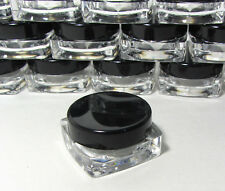 500 Small Square Cosmetic Containers Lip Balm Jars Pot Black Lid 3 Gram Ml #3048