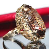 1900's antique 14k yellow gold ring 26.20ct smoky quartz size 4.5 handmade 12.5g