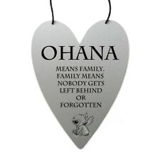 Disney Lilo and Stitch Ohana family quote on metal heart wall hanging art gift