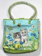Kittens Cats Butterfly Floral TOTE BAG Purse Green Blue Gingham Medium