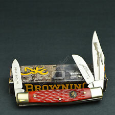 Browning Red Pick Bone Three Blade Stockman Folding Pocket Knife 322183