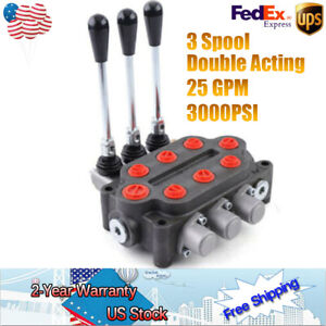3Spool 25gpm Hydraulic Monoblock Directional Control Valve Double Acting 3000PSI