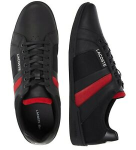 New Lacoste Men Shoes Chaymon Club 0120 Black Red Leather Casual Sneakers Shoes