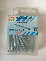 20 Coppiglie zincate mm 3,2x32 coppiglia tradizionale fissaggio perni bulloni