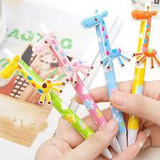 3pcs Giraffe Ball Pens Office Stationary Cartoon Blue Ink Kids Toy School WFEU