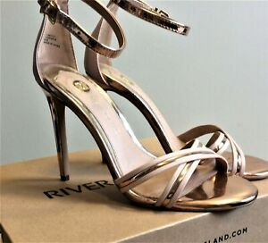 River Island Gold/Rose Gold Strappy Open Barely There Ankle strap Heel size UK 5