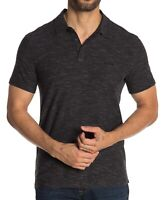 John Varvatos Star USA Men's Short Sleeve Striated 3 Stars Polo Shirt Black