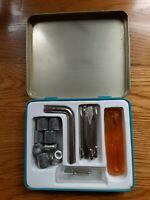 Vintage Mini Screwdriver tool Set  blue tin case Hong Kong  phillips flat Socket