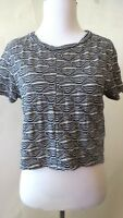 ZARA  Blue  White  Geometric Print Short Sleeve  Top  Blouse  Size  L