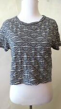 ZARA  Blue  White  Geometric Print Short Sleeve  Top  Blouse  Size  L