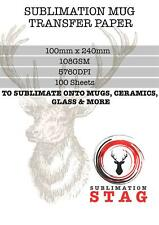 STAG -100 x Mug Size  Paper Quality Heat Press Sublimation Transfer -108gsm