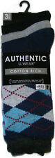 3 PAIRS OF AUTHENTIC MENS COLOUR ARGYLE DIAMOND COTTON RICH SOCKS - UK SIZE 6-11