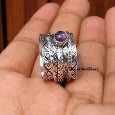 Amethyst Spinner Ring 925 Sterling Silver Plated Ring Handmade Ring Size 7 zz76