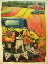 """""""Love"""" Border Collie & Tulips in back of Antique Blue Truck in Field House flag"""