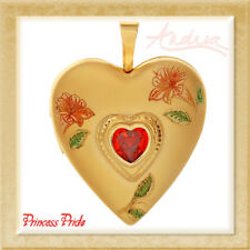 0.48Ctw Red Cubic Zirconia Free Chain Princess Pride Gold Plated Heart Locket