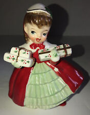 Vintage NAPCO Japan Christmas Lady Planter w Gifts AX1690 PB Dated 1956