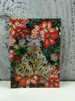 """ACEO Artist Trading Card """"Tangled Christmas Cat"""" Handmade Stickers & Glitter"""