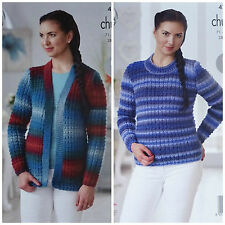 Ladies KNITTING PATTERN Easy Knit Textured Jacket & Jumper Chunky King Cole 4711