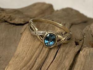 Vintage Dublin Irish H/M 9ct Gold Blue Topaz Pierced Ladies Ring size N - 2.4gr