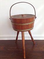 Vtg Antique 3 Leg Wood Knitting Sewing Storage Container Firkin Bucket