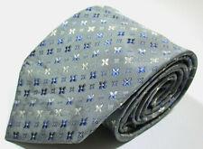 Louis Vuitton LV Monogram Pattern Gray Color Silk Necktie Tie Made In Italy