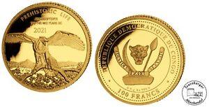 Kongo 100 Francs 2021 Prehistoric Life 5. Archaeopteryx  0,5 gr Gold Proof