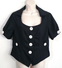 Kenar Women Size 10 Button Down Top Blouse Black Cropped Cotton Blend Career