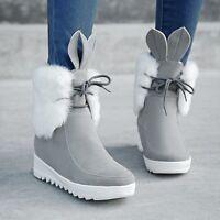 Ladies Winter Fur Trim Lace Up Hidden Wedge Heel Warm Ankle Snow Boots Plus Sz