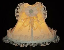"""French Shabby Chic Ivory Lamp Shade Victorian Cream Lace Rhinestones Pearls 6"""" H"""