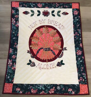 Appliqué Quilt Wall Hanging, NOT BY BREAD ALONE, Flowers, Hearts, Hand Quilted