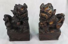 VINTAGE PAIR OF CHINESE CARVED FOO DOG