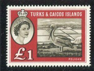 Turks & Caicos QEII 1960 £1 sepia & deep red SG253 MNH