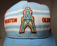 VINTAGE AUTHENTIC ORIGINAL HOUSTON OILERS SNAP-BACK MESH TRUCKER HAT CAP CRUSTY