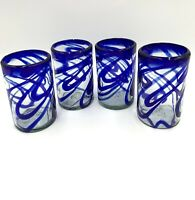 Mexican Hand Blown Art Glass Highball Glass Blue Swirl Set of 4
