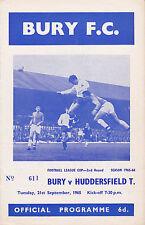 BURY v HUDDERSFIELD TOWN 65-66 LEAGUE CUP MATCH