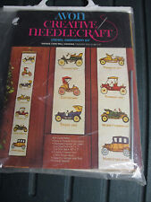 "Avon Crewel Embroidery Kit Vintage Cars Wall Hanging NIP 40"" x 6"""