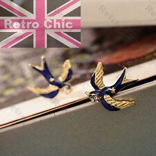 SWALLOW BIRDS STUD EARRINGS rockabilly RETRO STUDS crystal enamel BLUE/GOLD TONE