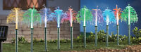 Set of 10 Solar Powered Fiber Optic Fountain Light Garden Path Stakes