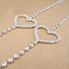 1pair women rhinestone wedding shoulder bra straps heart-shaped adjustable white