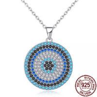 925 Silver Cubic Zirconia CZ Evil Eye Turkish Greek Mati Nazar Necklace Pendant