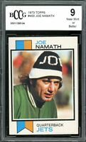 1973 Topps #400 Joe Namath Card BGS BCCG 9 Near Mint+